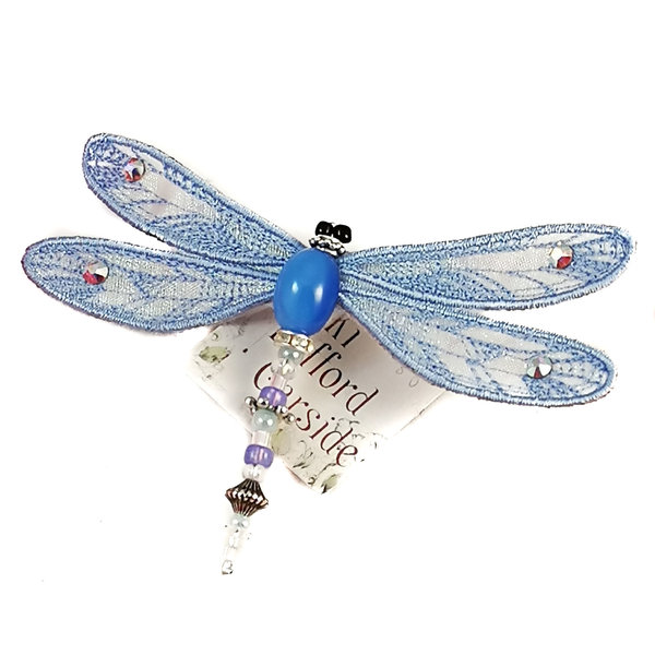 Dragonfly jewelled brooch pale blue 080