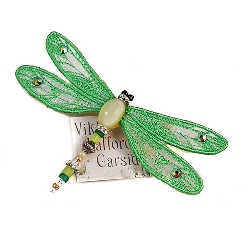 Vikki Lafford Garside Dragonfly jewelled brooch green 081