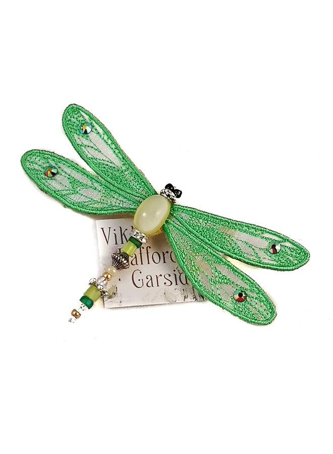 Libelle juwelenbesetztes Broschengrün 081