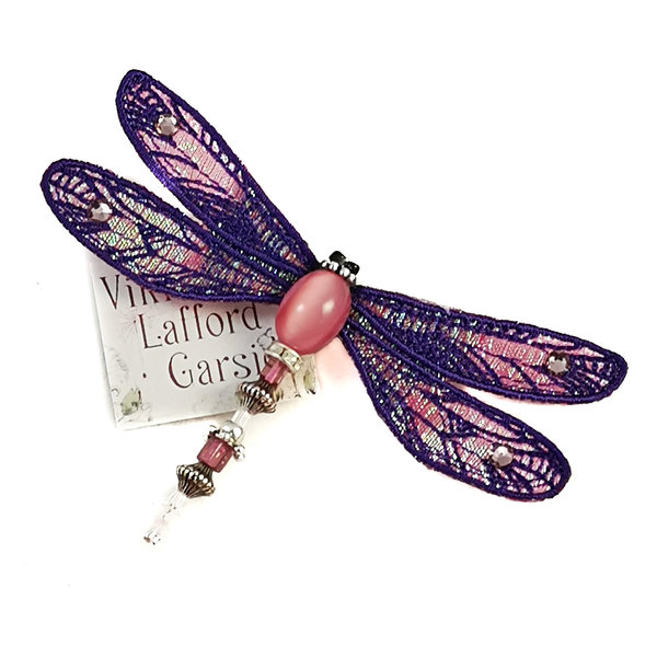 Dragonfly jewelled brooch purple & pink  082