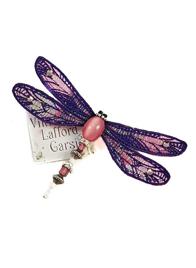 Libelle juwelenbesetzte Brosche lila & pink 082