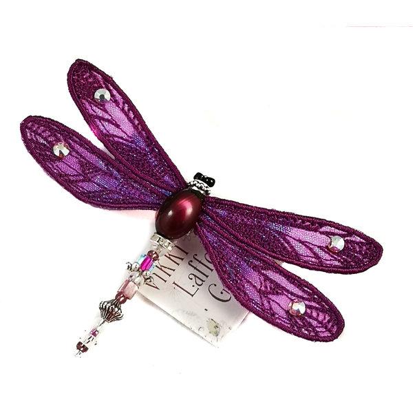 Libelle broche met juwelen violet 083
