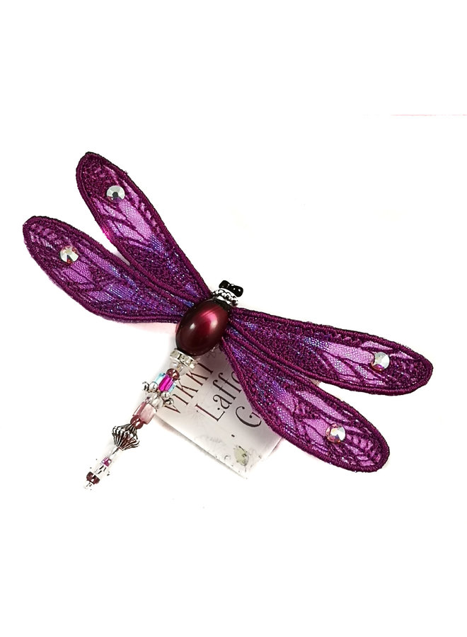 Libelle juwelenbesetzte Brosche violett 083