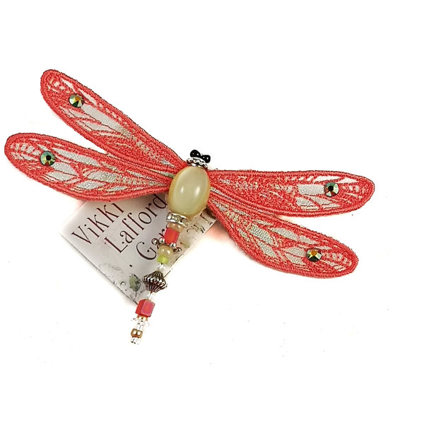Dragonfly jewelled brooch coral 084