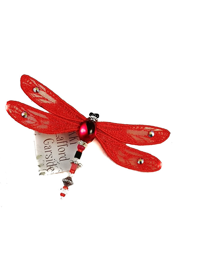 Libelle juwelenbesetzte Brosche rot 086
