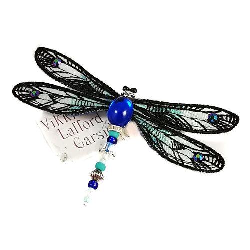Vikki Lafford Garside Broche de libélula con joyas negro y verde 087
