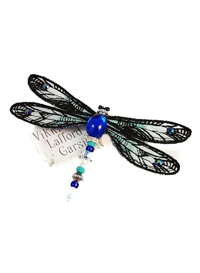Libelle Juwel Brosche schwarz und grün 087