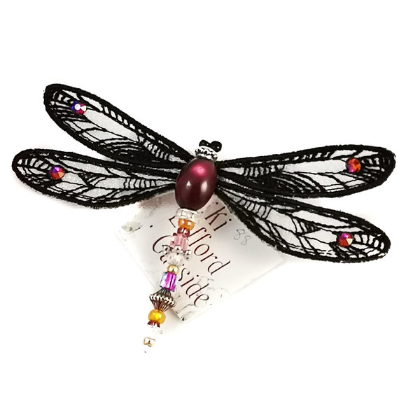 Dragonfly jewelled brooch black and cream 088