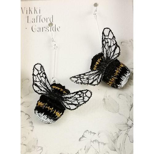 Vikki Lafford Garside Bumble Bee bestickte Tropfenohrringe 089