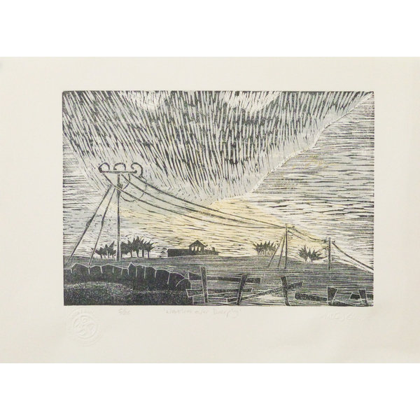 Westerlies Over Deepplay- Woodcut Unframed 027