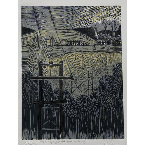 Anita J Burrows Spring Squall down the Valley - Woodcut Unframed 028