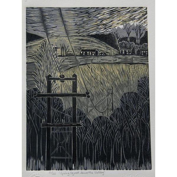 Chubasco de primavera por el valle - Xilografía sin marco 028
