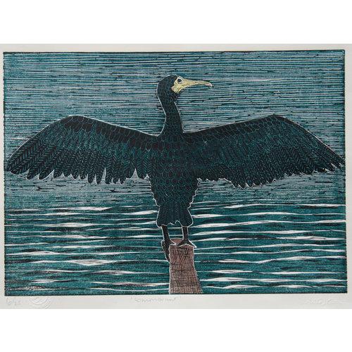 Anita J Burrows Commorant - gravure sur bois sans cadre 029