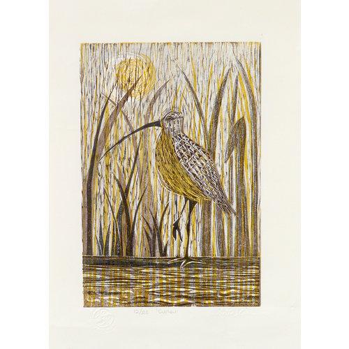 Anita J Burrows Curlew - Woodcut Unframed 030