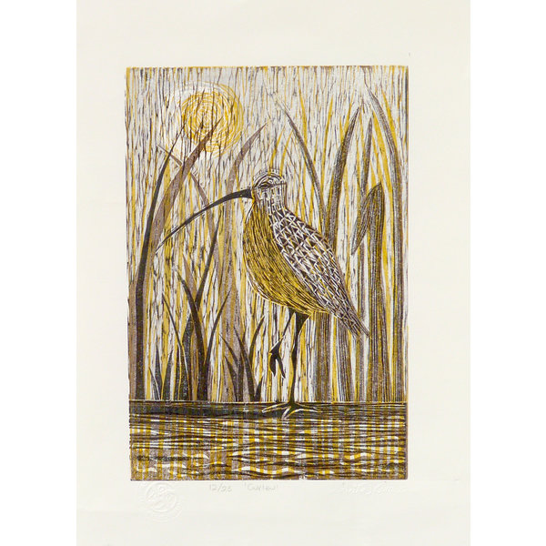 Curlew - Woodcut Unframed 030