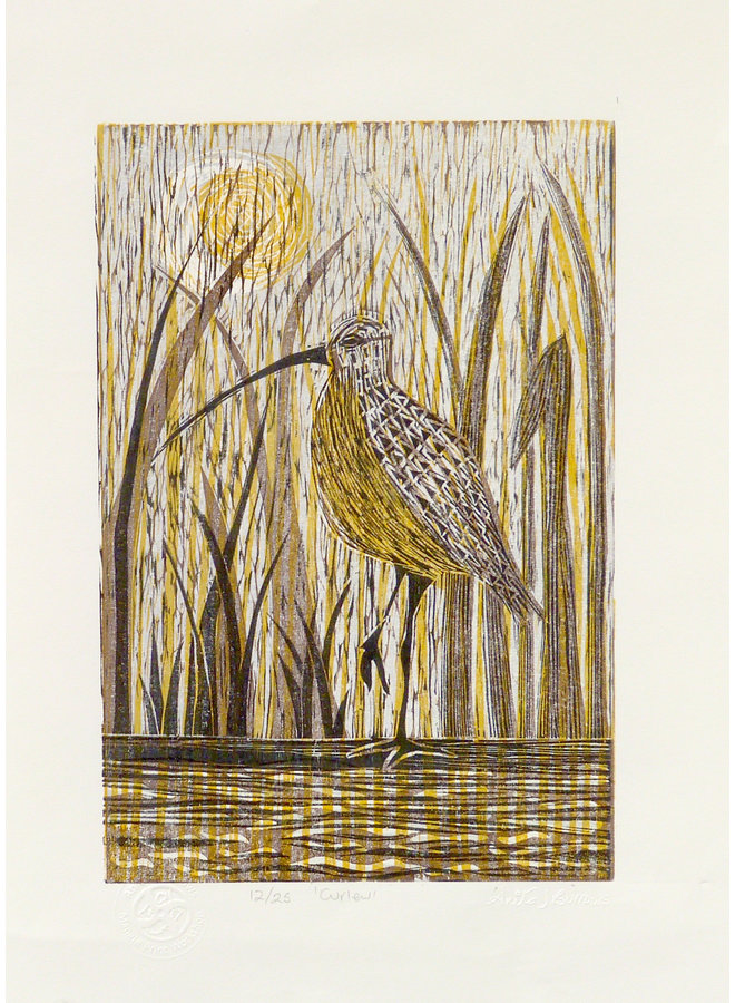 Curlew - Woodcut Unframed 030
