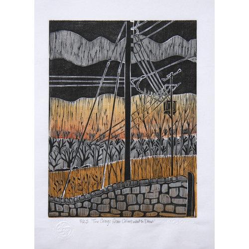 Anita J Burrows Les Craggs de Crimsworth Dean - gravure sur bois sans cadre 031