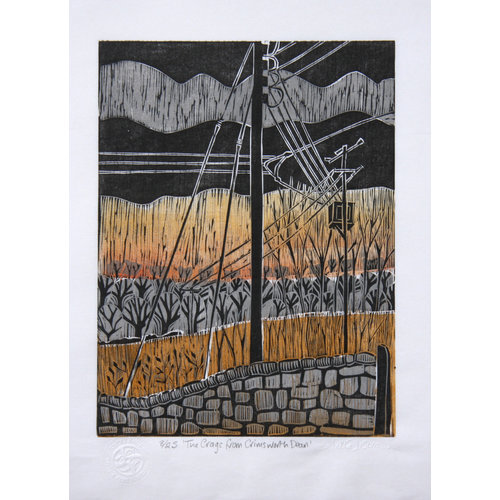 Anita J Burrows The Craggs from Crimsworth Dean - Woodcut Unframed 031