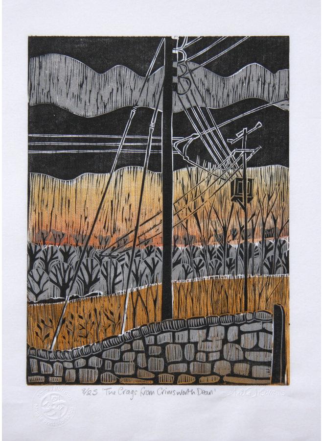 Die Craggs von Crimsworth Dean - Woodcut Unframed 031