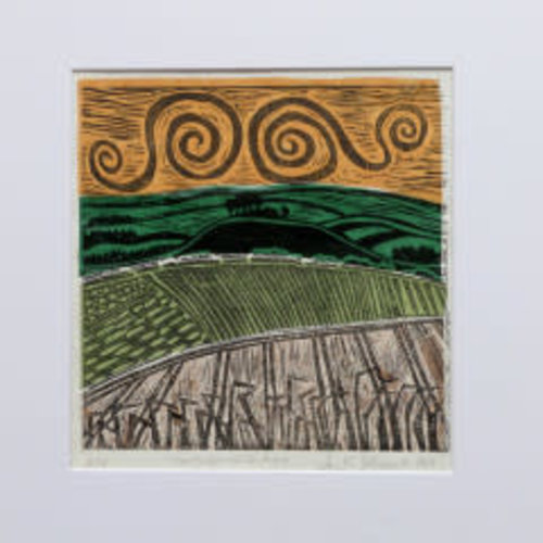 Anita J Burrows Over the Hills and Far Away A/P - Lino block Unframed 033