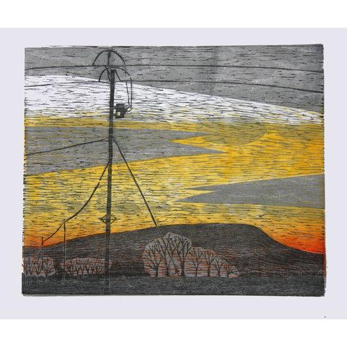 Anita J Burrows Pendle Sunset, Red Lane, Colne - Grabado en madera sin marco 034