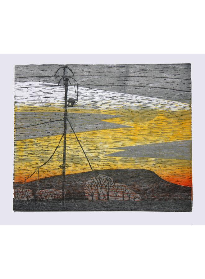 Pendle Sunset, Red Lane, Colne - Holzschnitt ungerahmt 034