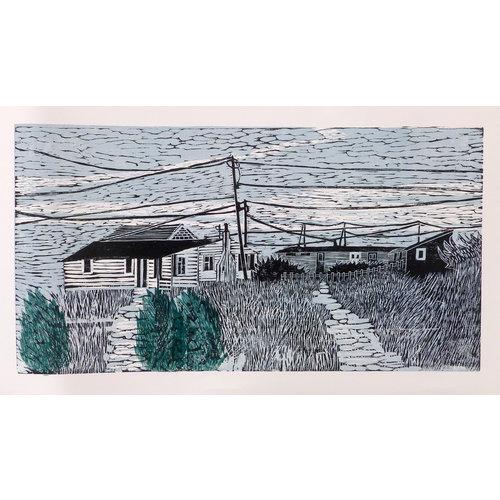 Anita J Burrows Vida alternativa - Grabado en madera sin marco 035