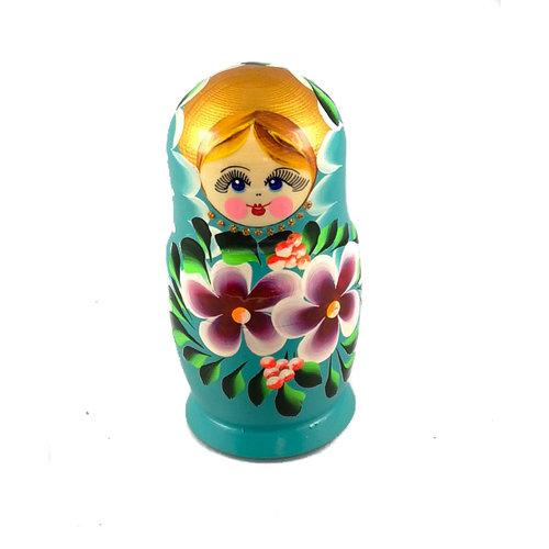 Russian Gifts 5 Nesting Martyoshka Doll Türkisblau mit kleinen Blumen 102