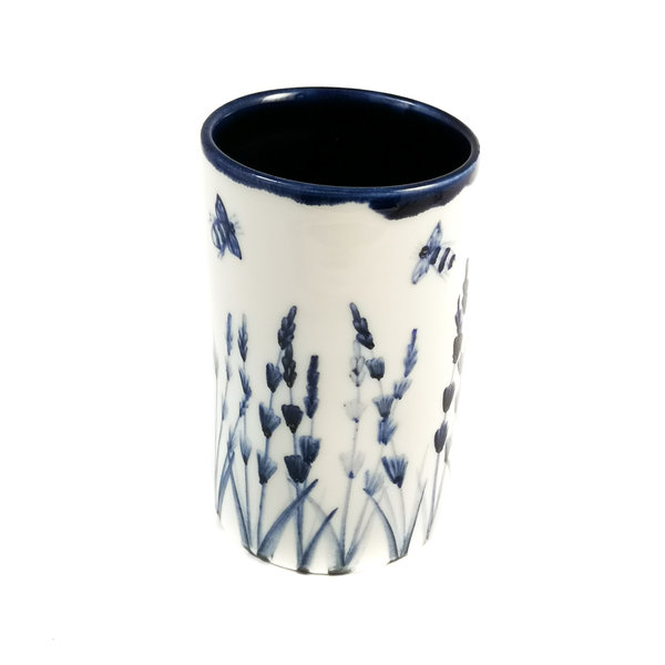Bijen en lavendel porselein handgeschilderde posy pot 063