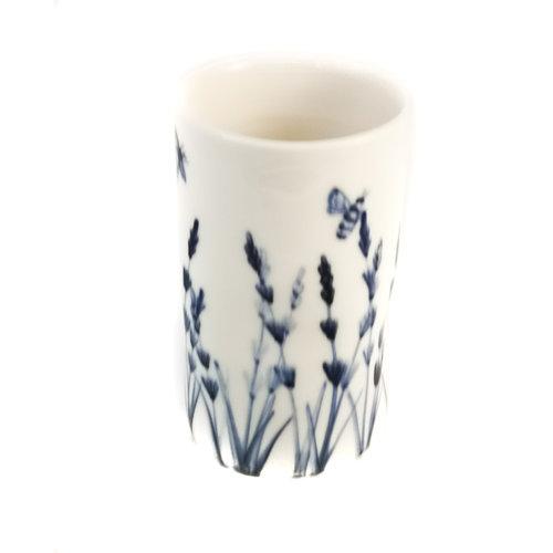 Mia Sarosi Bijen in lavendel porselein handgeschilderde posy pot 072