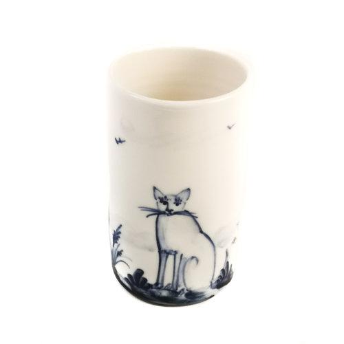 Mia Sarosi Katzen Porzellan handbemalten Blumenstrauß Topf 068