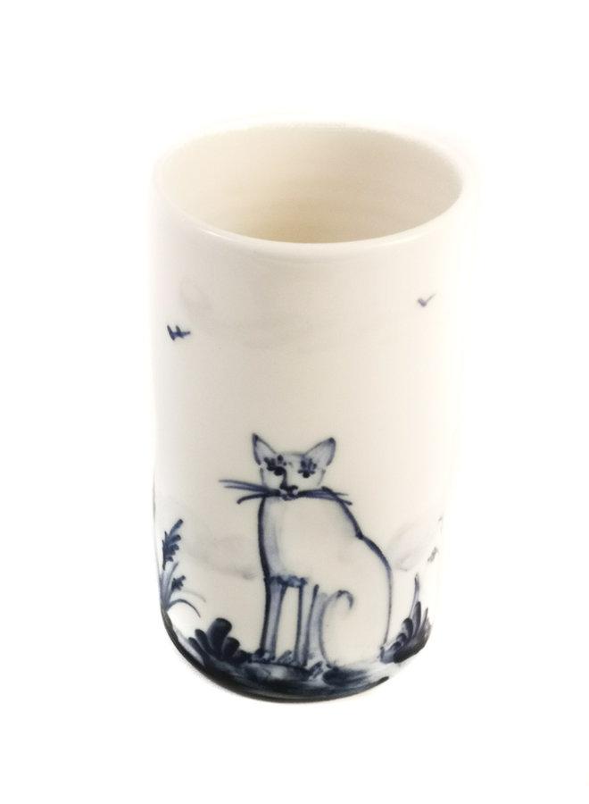 Cats Porzellan handbemalte Blumenstrauß Topf 068