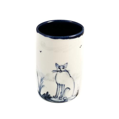 Mia Sarosi Gatos de porcelana pintados a mano olla ramillete 065