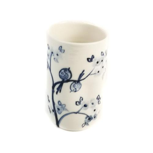 Mia Sarosi Kirschbaum mit Vögeln Porzellan handbemalten Blumenstrauß Topf 073
