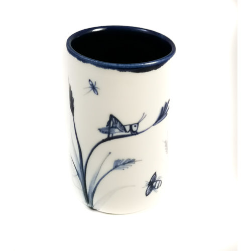 Mia Sarosi Grasshopper with spider  porcelain  hand painted  posy pot 064
