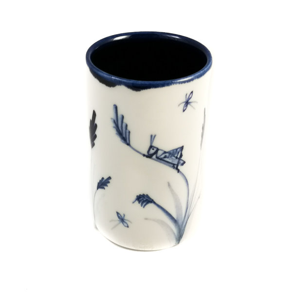 Sprinkhaan met spin porselein handgeschilderde posy pot 064