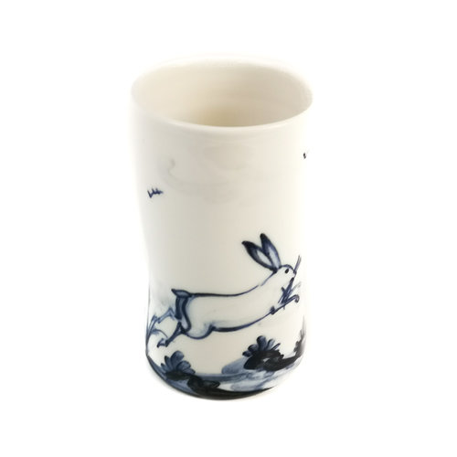 Mia Sarosi Hares leaping  porcelain  hand painted  posy pot 067