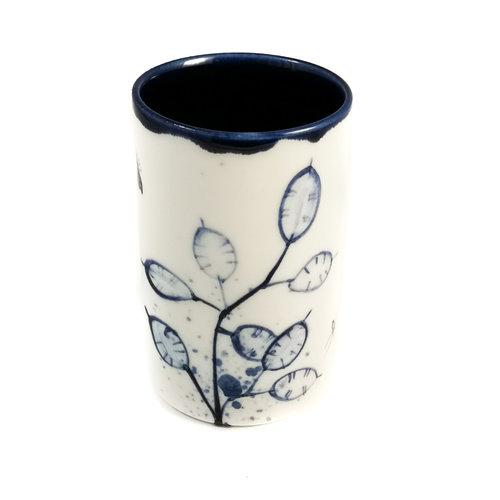 Mia Sarosi Honsty met bijen porselein handgeschilderde posy pot 065