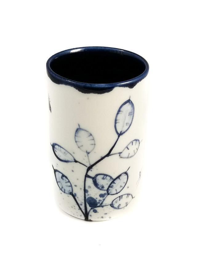 Honsty mit Bienen Porzellan handbemalten Blumenstrauß Topf 065