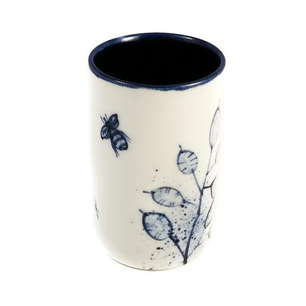Honsty met bijen porselein handgeschilderde posy pot 065