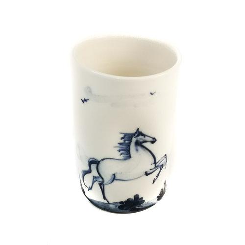 Mia Sarosi Maceta de porcelana pintada a mano de caballos 069