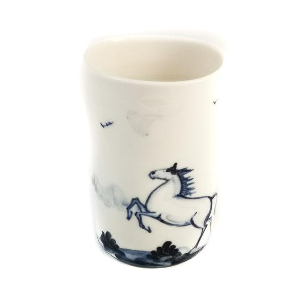 Paardenporselein handgeschilderde posy pot 069