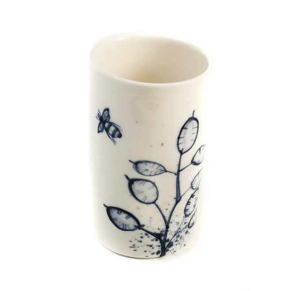 Bees with honesty porcelain  hand painted  posy pot 074