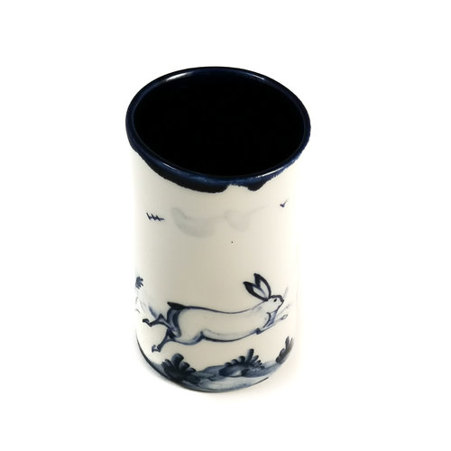 Mia Sarosi Hares leaping porcelain  hand painted  posy pot 075