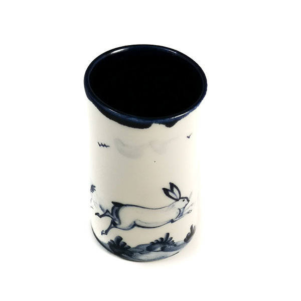 Hares leaping porcelain  hand painted  posy pot 075