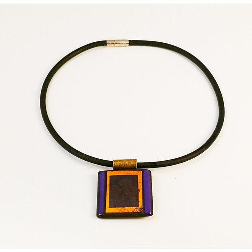 Gill Laverick Rectangular necklace purple with Gold lustre ceramic