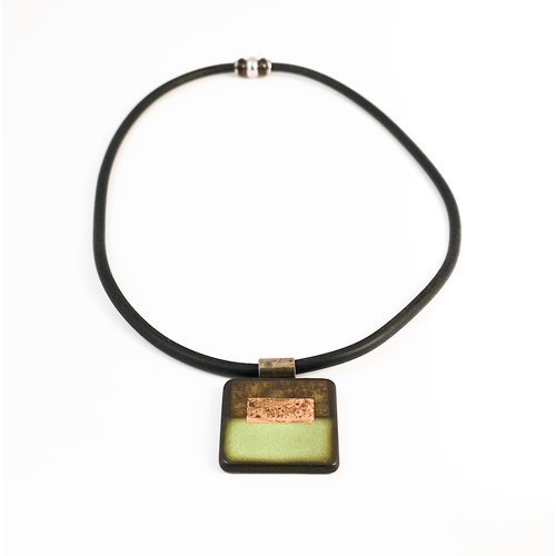 Gill Laverick Rectangular necklace lime with Gold lustre ceramic