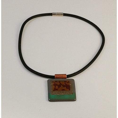 Gill Laverick Rectangular necklace blue with Silver lustre ceramic
