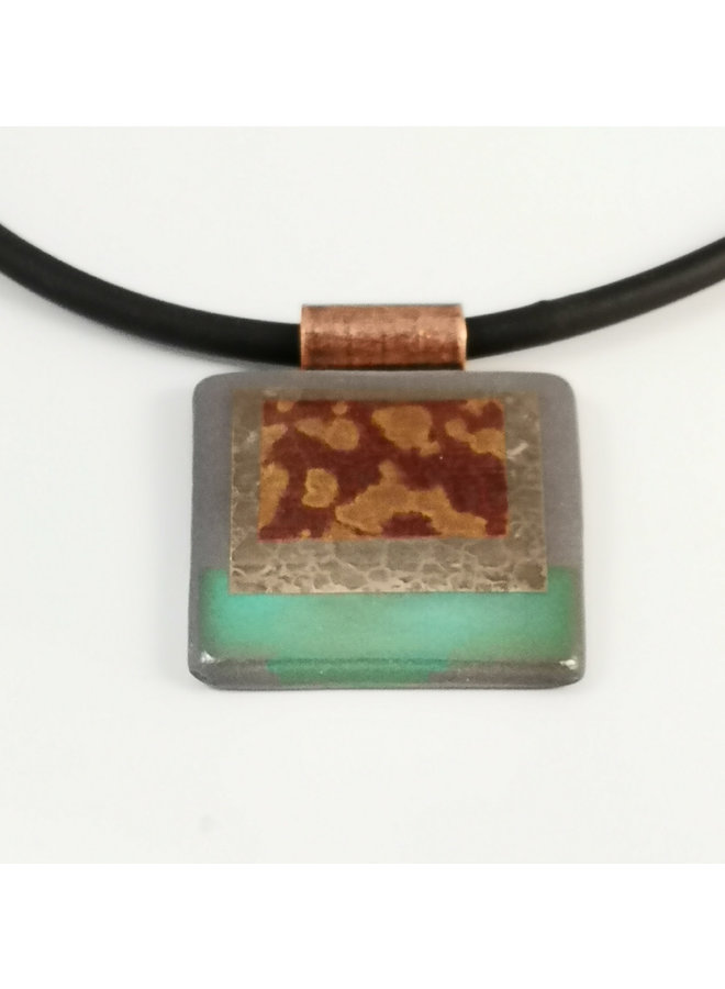 Rectangular necklace blue with Silver lustre ceramic