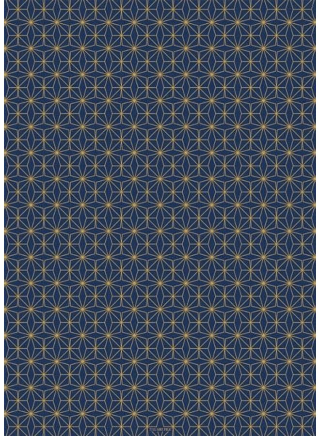 Geometric Dark  Blue and gold gift wrap 10